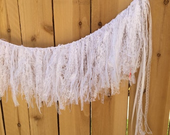 Lace Garland, White Lace Garland, READY to SHIP, Shabby and Chic, Romantic, Boho Chic, Wedding, Shower, Party, Home Decor