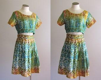 Vintage 1990s Handmade Two Piece Tie Dye Crop Top & Pleated Mini Skirt.