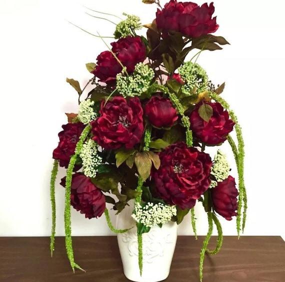 Elegant silk floral arrangement centerpiece red peony