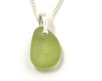 Pale Lime Green Sea Glass Necklace DANY