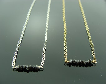 Mini Black Raw Rough Diamond 14k Gold Filled or Sterling Silver Bar Necklace