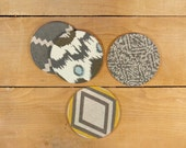 Bold pattern fabric coasters, Drink Coasters, Coaster Set - Gift for him and her, hostess, spring summer - Upcycled and ecofriendly