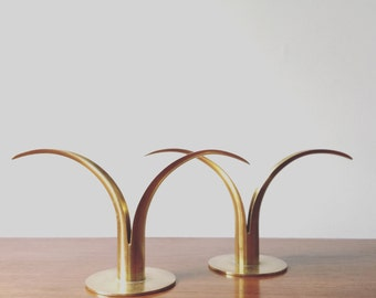 Vintage Brass Ystad Lily Candle Holders