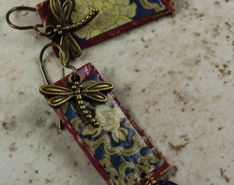 Urban Gypsy Purple Dragofly Nature Theme handcrafted Bohemian Gypsy Dangle Earring