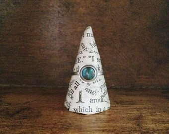 turquoise & sterling silver ring // turquoise with copper inclusions // boho jewelry