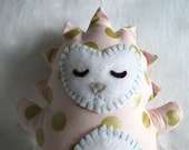 Stuffed Hedgehog - Hedgehog Toy - Pale Pink With Gold Polka Dots  - Nursery Decoration
