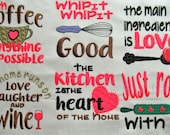 Cooking quotes - machine embroidery designs - 4x4   INSTANT DOWNLOAD Ingredient, kitchen, coffee, whip it, wine, roll