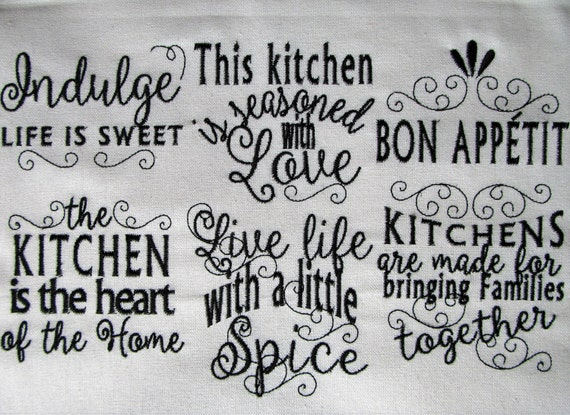 Kitchen lovely quotes machine embroidery designs