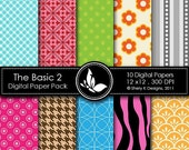 50% Off The Basic 2 Paper Pack - 10 printable Digital Scrapbooking papers - 12 x12 - 300 DPI ////// 2