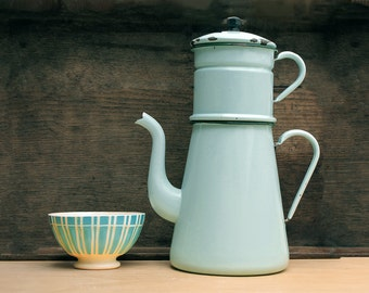 Very large Completed French Vintage aqua enamel coffee pot, light blue  tea pot, enamelware
