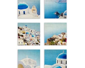 Mediterranean Photography, teal home decor, aqua wall art, Santorini Photography, Greece photography - Six Fine Art Photographic Prints