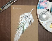 Hand Painted Feather -Pocket Journal - Sketch Book - Gift Under 10 - Gift for Artist - Stocking Stuffer - Jotter - Dreams - Dream Journal