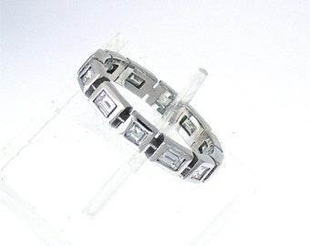 Unique Straight BAGUETTE and SQUARE DIAMOND Wedding Band in 14k White Gold