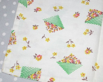Vintage Baby Doll Pillowcase Green Yellow Flowers