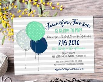 Ready to pop gender neutral baby shower invitations baby sprinkle reveal twin boy navy mint balloon stripe item 12118 shabby chic invitation