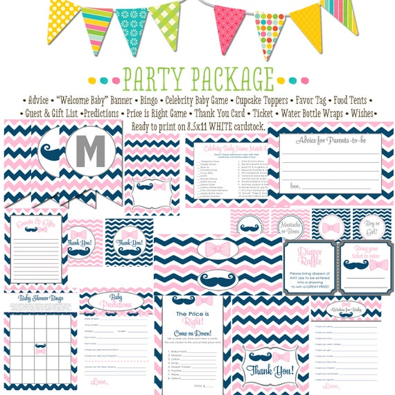 mustache or bows item 1444 chevron package Matching games, ticket, banner, bingo, thank you card, water bottle wraps, cupcake toppers