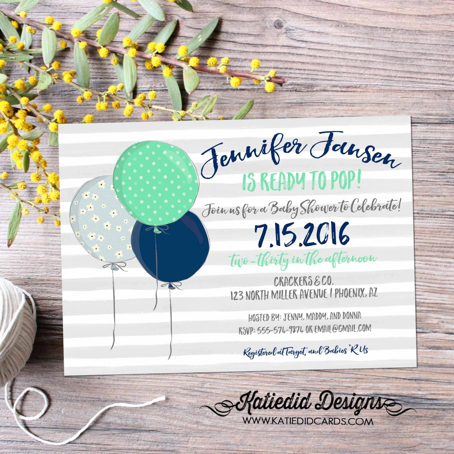Ready to pop gender neutral baby shower invitations baby sprinkle