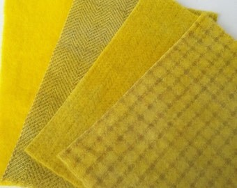 Hand Dyed Felted Wool Fabric bundle in LEMON - 8x6 - for Wool Appliqué, Penny Rugs, Rug Hooking, Quilting  #764