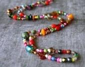 Colorful Bead Necklace, Handmade Beaded Jewelry, Long Beaded Necklace, Unique Necklaces for Women, Gypsy Necklace, Beaded Boho Necklace