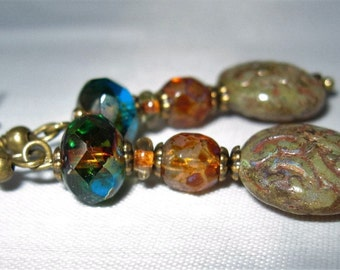 Czech Glass  Earrings Aqua/Amber Rondelle with Czech Glass Faceted Tortoise Bead, Round Czech Glass Picasso Paisley
