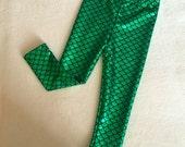 Baby Toddler Girls Little Mermaid leggings Emerald Green & Black metallic Birthday fish scale pants 3 6 12 18 24 months 2T 3T 4T 5T costume