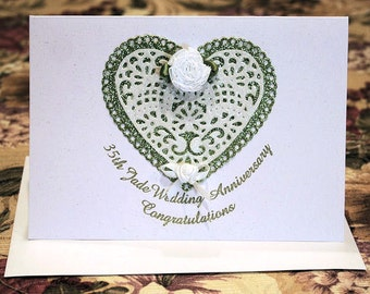 35th Jade Wedding -Modern- Anniversary Congratulatory White Sparkling Glitter Card with Lace Hearts Flowers is Elegant Simplicity