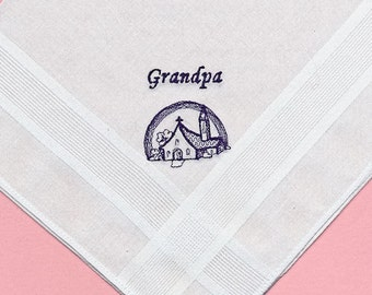 SALE - 50% DISCOUNT - Grandpa Wedding Handkerchief Embroidered Image of Chapel with Rainbow is in Navy-1 of only