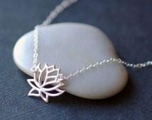Sterling Silver Lotus Necklace, Sideways Necklace, Blooming Flower Necklace, Simple Lotus Necklace