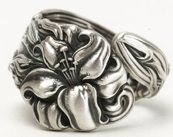 Tiger Lily Ring, Small Spoon Ring Sterling Silver, Stargazer Lily Flower, Frontenac Floral Ring, Gift For Her, Personalized Ring Size (5822)