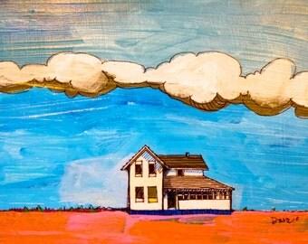 art landscape, Original Painting, Prairie Landscape 12 x 12 x 3/4 original acrylic painting