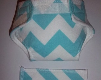 Baby Doll Diaper/wipe - bright turquoise chevron stripe - See Shop Special - adjustable for many dolls such as bitty baby