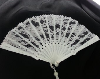 White Lace Mini Fan for Doll Making or Steampunk Hat Making 4 Inches Qty 1 All White