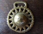 Vintage English Sun Star horse brass horseshoe lucky pendant charm harness martingale tack circa 1910-30's / English Shop