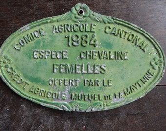 Vintage French agricultural farming beef cattle cow livestock winner green metal prize trophy plaque agriculture farm 1984 / English Shop
