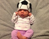 newborn soccer hat//crochet//infant//14 inches//baby