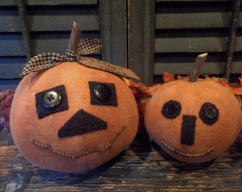 Pair of Primitive Handmade Jack-O-Lanterns - Fall and/or Halloween Decoration