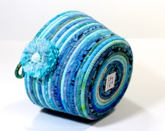 Aqua and Blue Basket Coiled Rope Clothesline Bowl   OOAK Handmade Organizer