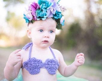 Crochet mermaid top, little girl bikini top, toddler halter top, toddler mermaid costume top, mermaid, mermaid costume, sea shell bikini top
