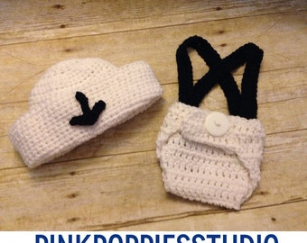 Crochet baby sailor outfit, newborn prop, newborn sailor hat with diaper cover