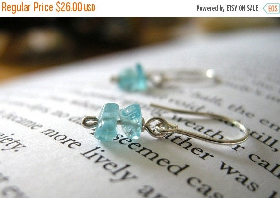 20% Off CIJ Sale Seaside Dainty Apatite Sterling Silver Earrings - Short Stack / Bright Teal Blue, Simple Minimal Jewelry for Her