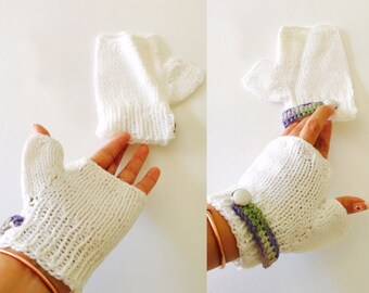 White  Fingerless Gloves, Kniteed Romantic, Woman, Hand Made in the USA, Item No. DeBg09