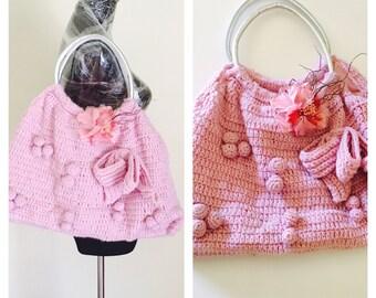 Crochetk Handbag, Silver Handle, Big Bow, Pink Flower, Hand Made, Clearance SALE