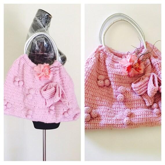 Crochetk Handbag, Silver Handle, Big Bow, Pink Flower, Hand Made, WINTER SALE