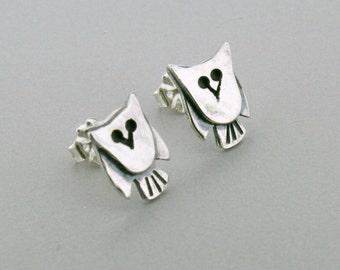 Silver Owl Earrings - Owl Stud Earrings - Owl Jewelry