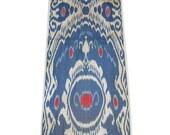 Amazing  blue red Uzbek silk cotton ikat, adras fabric   yard  1 yard