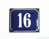 Vintage Enamel Sign Number 16 / Sixteen Small Metal Number