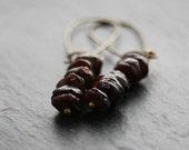 Earrings, Red Garnet, Brass, Dangle, Boho Chic