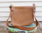 Vintage COACH Distressed Leather Shoulder Bag Saddlebag Crossbody Bag