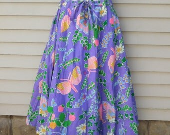 Vintage Purple Floral Butterfly Strawberry Print Skirt