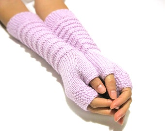 Knit Fingerless gloves | Knitted Fingerless Mittens | Arm Warmers | Hand Warmers | Boho Glove | Wrist Warmers | Violet